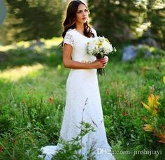 Vestido De Noiva 2017 Vintage Western Country Crochet Lace Wedding Dress A Line Bohemian Robe De Mariage Beaded Belt Elegant Wedding Gowns