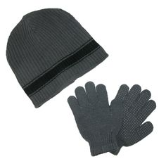 CTM Boys' & Teens' Ribbed Knit Hat and Glove Winter Set