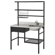 RÅVAROR Mini-kitchen - black - IKEA Brass Kitchen Faucet, Kitchen Utensils, Kitchen Sink, Ikea Sortiment, Mini Kitchen, Kitchen Black, Kitchen Units, Kitchen Island, Steel Seal