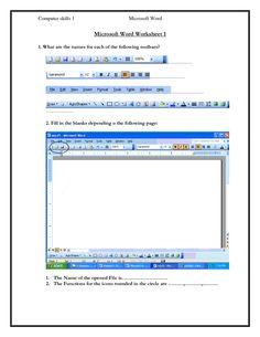 Computer Skills Worksheets | Computer skills 1 Microsoft Word Microsoft Word Worksheet 1 1 What are ...