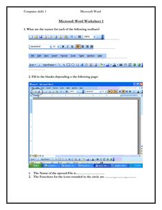 ... Computer skills 1 Microsoft Word Microsoft Word Worksheet 1 1 What are