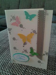 Ostergrusskarte mit Schmetterlingen von Stampin up