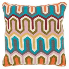 """Handcrafted cotton pillow with an embroidered wool arrows motif.Handcrafted cotton pillow with an embroidered wool arrows motif.  Product: Set of 2 pillowsConstruction Material: Cotton and woolColor: MultiFeatures:  Striped patternInsert included Dimensions: Small: 18"""" x 18"""" eachLarge: 22"""" x 22"""" each"""