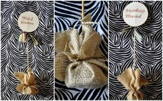 Jungle party decor - Burlap food labels. Put some pebbles inside so it can stand up. X