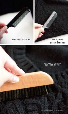 DIY: Sweater Care ~ use a fine tooth comb to de-pill
