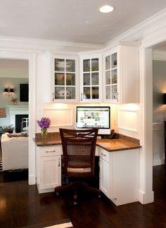 Love this corner desk/computer area in the kitchen.