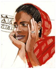 Arts Graphiques   Titouan Lamazou   Moumna   Tirage d'art en série limitée sur L'oeil ouvert Travel Illustration, Digital Illustration, Atelier D Art, Tribal People, Africa Art, Watercolor Portraits, Tribal Art, Portrait Art, Black Art