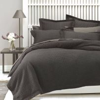 Linen House Deluxe Waffle Charcoal Queen Quilt Cover Set