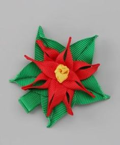 Take a look at this Red & Green Poinsettia Clip by Couture Hair Bows on #zulily today! by francisca