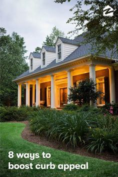House Exterior with Lights Home Landscaping, Front Yard Landscaping, Garden Care, Outdoor Spaces, Outdoor Living, Cabana, Curb Appeal, Beautiful Homes, Garden Design
