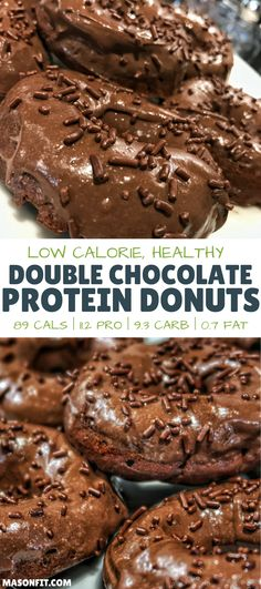 These double chocolate high protein donuts are one of the most popular recipes on my blog. With 89 calories, 11 grams of protein per donut, and rich chocolate flavor, it's easy to understand why. via @masonfitdotcom