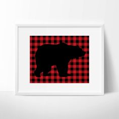 Black Bear Print on Red Buffalo Plaid by TwooverTwoStudio on Etsy