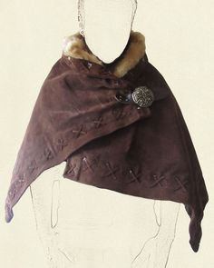 Cloak – suede with fur lining, Battle Ready Armor Clothing, Medieval Clothing, Larp, Costume Viking, Dryad Costume, Vikings, Estilo Tribal, Leather Armor, Fantasy Costumes