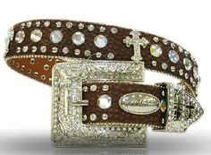 XS S M L or XL Brown SQUARE WING CROSS CONCHOS BUCKLE WESTERN COWBOY GIRL BELT
