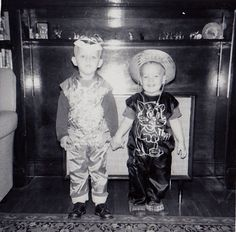 Antique Photograph Two Cute Boys in Halloween Costumes Standing By Fireplace