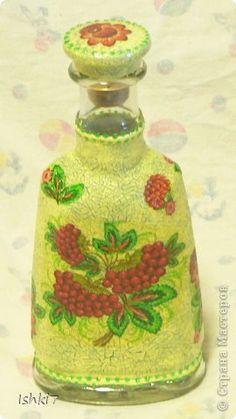 Itens de decoração Decoupage cracelures garrafas Mais garrafas de vidro decoupage Guardanapos Pintura Foto 8