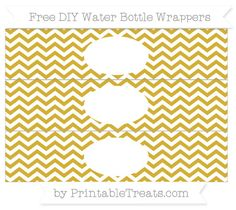 Free White and Metallic Gold Chevron  DIY Water Bottle Wrappers