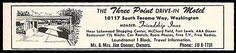 Three Point Motel Ad Tacoma Washington AC Phone TV 1964 Roadside Ad Travel