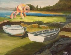 Monsters Added to Dull Yard Sale & Thrift Store Landscape Paintings (Chris McMahon)