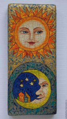 Фантазийные сюжеты ручной работы. Ярмарка Мастеров - ручная работа. Купить Солнце и Луна. Handmade. Комбинированный, солнце и луна, дерево