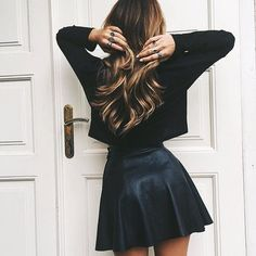 black crop top + leather skirt