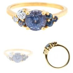 A Custom Cluster Sapphire Engagement Ring by Bario Neal