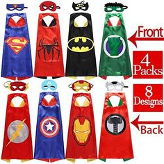[Batman Tattoo] Zaleny Superhero Dress Up Costumes 4 Double-sided Design Satin Capes with 8 Felt Masks -- Check this awesome product by going to the link at the image. (This is an affiliate link) Superhero Dress Up, Teen Boy Costumes, Doll Games, Batman Tattoo, Felt Mask, Thing 1, Superhero Design, Superhero Birthday Party, Dress Up Costumes