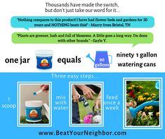 Beat Your Neighbor all purpose plant food and fertilizer for flowers, plants and vegetables. The absolute BEST plant food and fertilizer. Grow like the pros and have a beautiful garden and flowers. Better than Miracle Gro. Tropical Landscaping, Yard Landscaping, Greenhouse Gardening, Container Gardening, Backyard Projects, Garden Projects, Lawn And Landscape, Garden Pests, Garden Care