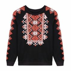 Women Korean Style Casual Geometric Print Sweatshirt O-Neck Long Sleeve Thick Pullover Hoodie
