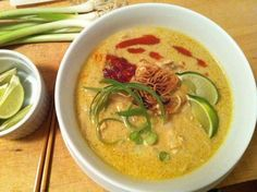 Kao Soi - this is my favorite comfort-food dish from Thailand! Thai curry noodle soup - super easy to make, and this is the best recipe I found for making it when I came home from Thailand.