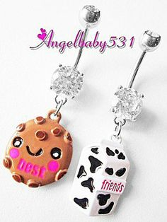 Adorable Milk and Cookie BEST FRIENDS Set Dangle Belly Ring Bar Navel Ring HOT  $10.99