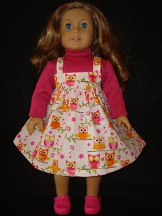 American Girl doll Clothes/ Owl On A Limb/ Jumper by auntiejans