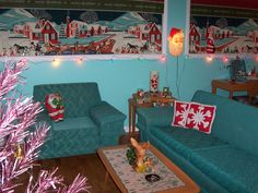 50's Christmas (wow- that's my couch! diff. color, wish I could find the chair to match)