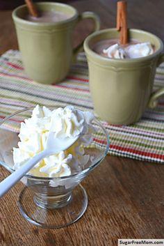 Frozen Peppermint Sugar-Free Whipped Cream {Dairy Free Option} / sugarfreemom.com