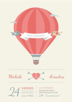 Invitación boda globo aerostático - Balloon wedding invitation