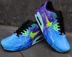 separation shoes 8cb65 e8962 Custom Airbrush Painted Nike Air Max 90 Crazy Funky Colours  UNIKAT  ART