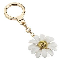 Kate Spade New York Daisy with Faux Pearl Key Fob ($58) ❤ liked on Polyvore featuring accessories, gold, kate spade, ring key chain, keychain key ring, key chain rings and fob key chain