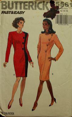 "1990s Dress Asymmetrical Button Trim Butterick Pattern 5561  Uncut Sizes 12-14-16  Bust 34-36-38"""