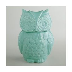Cost Plus World Market Aqua Owl Cookie Jar ($13) ❤ liked on Polyvore featuring home, kitchen & dining, food storage containers, blue, ceramic jar, cookie tins, owl cookie jar, biscotti cookie jar and cookie boxes