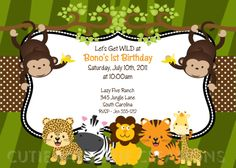 Free jungle theme party printables p a r t why pinterest jungle safari birthday invitation printable or printed jungle safari baby shower invitations jungle safari birthday invite filmwisefo Image collections