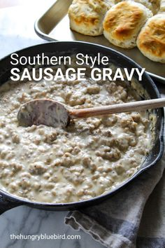 Southern sausage gravy and biscuits, creamy country-style sausage gravy served over warm split buttermilk biscuits. # Southern sausage gravy and biscuits, creamy country-style sausage gravy served over warm split buttermilk biscuits. Southern Sausage Gravy, Homemade Sausage Gravy, Southern Biscuits And Gravy, Southern Gravy Recipe, White Gravy Recipe, Sausage Gravy And Biscuits, Buttermilk Biscuits, Bisquits And Gravy, Breakfast And Brunch