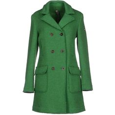Swiss-chriss Coat ($172) ❤ liked on Polyvore featuring outerwear, coats, jackets, green, swiss chriss, double breasted coat, green coat, long sleeve coat and lapel coat