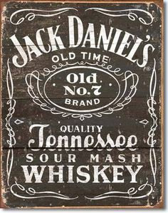 """Jack Daniels Sign Woodcut Logoreads""""""""Quality Tennesee Sour Mash Whiskey"""""""" features an old number 7 logo, all a vintage retro background. Measures- 16""""""""H X 12-1/2""""""""W Has holes in corners for easy hangi"""