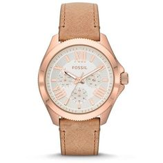 Montre pour femme : Fossil Cecile Multifunction Sand Leather Watch ($145)  liked on Polyvore feat