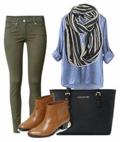 tenue avec pantalon kaki, idée pour chaque jour