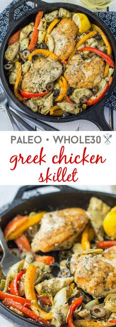 One pot meal in 30 minutes. Paleo & Whole30 compliant greek chicken skillet