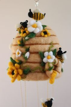Needle Felted Honey Bee Hive with Flowers and Bees, Natural Wool, White and Yellow Flowers, Utah, Golden Honey Cute Crafts, Felt Crafts, Felted Wool Crafts, Honey Bee Hives, Honey Bees, Needle Felting Tutorials, Wet Felting Projects, Felt Flowers, Yellow Flowers