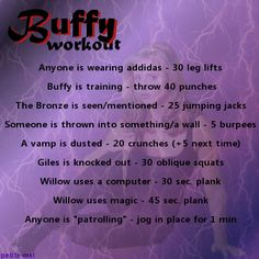Buffy the Vampire Slayer Workout - Now, my Netflix marathons will help me get ripped!