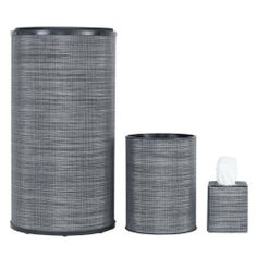 1530 Lamont Home Round Hamper Set, Cambria Silver/Black by 1530 Lamont Home. $67.41. Assembled in the usa. Made from a 75-percent pvc/25-percent polyester blend available in many fun colors/patterns. Set contains round hamper, round wastebasket, and tissue cover. 1530 Lamont Home is the newest brand from Lamont, a company with a 40 year history. These products are made of a 75-PercentPVC/25-PercentPolyester blend material. Assembled in the US and available in many differ...
