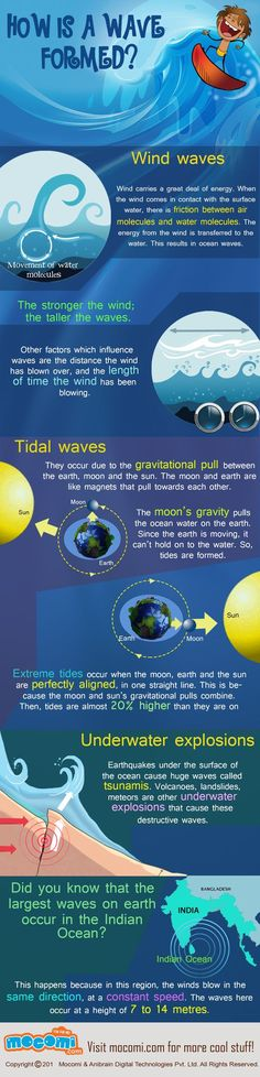 Cool Infographic. Do you know how is a wave formed? It is a friction between air molecules and water molecules. The energy from the wind is transferred to the water. For more interesting Geography articles and videos visit http://mocomi.com/learn/geography/